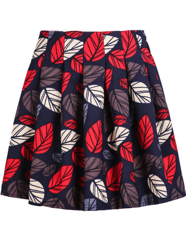 Black Leaves Print Pleated Skirt
