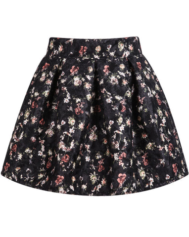 Black Floral Pleated Flare Skirt