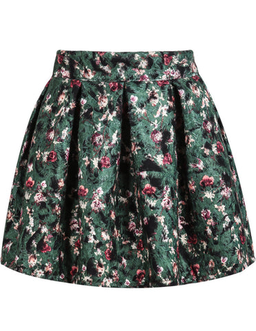 Green Floral Pleated Flare Skirt