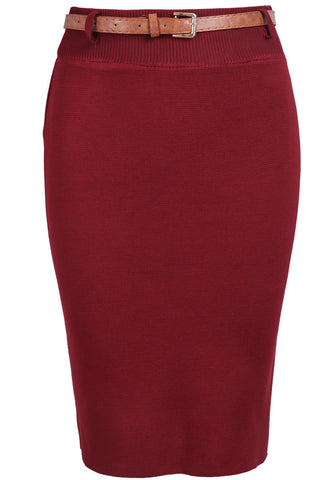 Red Skinny Knit Bodycon Skirt