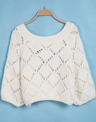Beige Boat Neck Long Sleeve Hollow Sweater