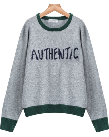 Grey Long Sleeve AVTHENTIC Print Knit Sweater