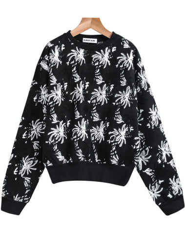 Black Long Sleeve Embroidered Sweatshirt
