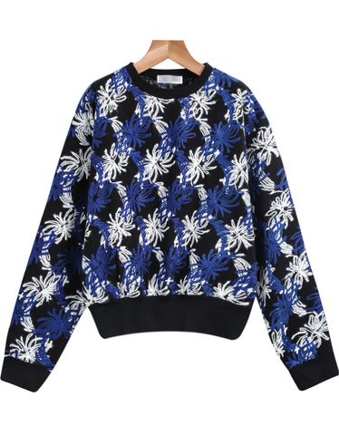 Blue Long Sleeve Embroidered Sweatshirt