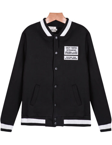 Black Long Sleeve Pockets Jacket