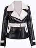 Black Lapel Long Sleeve Belt PU Jacket