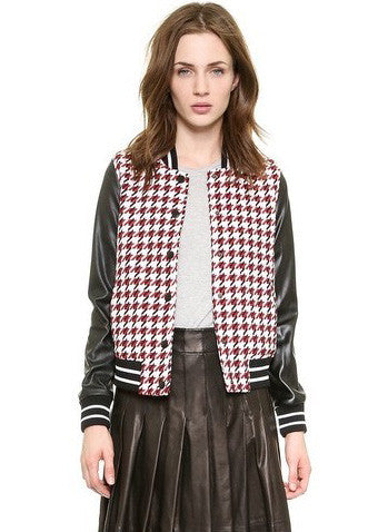 Red Long Sleeve Houndstooth Crop Jacket