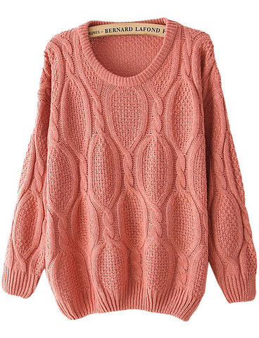 Pink Long Sleeve Mohair Cable Knit Sweater