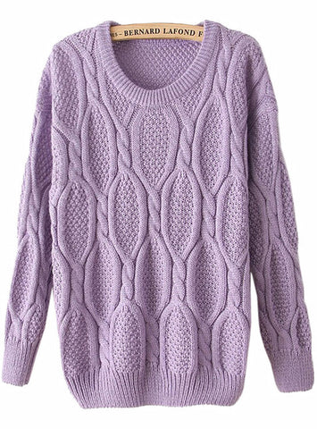 Purple Long Sleeve Mohair Cable Knit Sweater