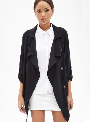 Black Long Sleeve Notch Lapel Trench Coat