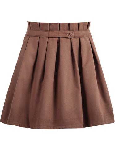 Khaki High Waist Pleated Skirt