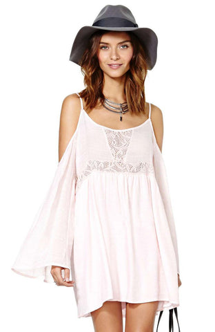 White Spaghetti Strap Off the Shoulder Embroidered Dress