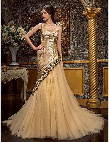 Wedding Dress Trumpet Mermaid Court Train Taffeta and Tulle V Neck With Ruffles