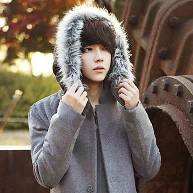 Men's Hoodie Fur Collar Tweed Coat