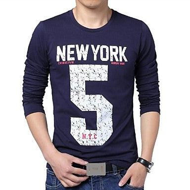 Men's Round Neck Letters Printing Long Sleeved T-Shirt