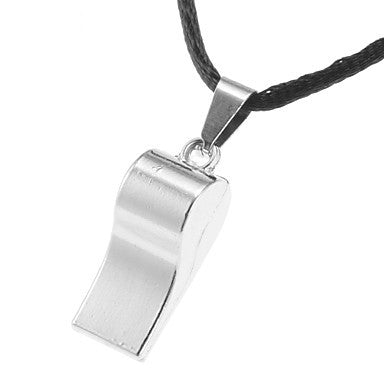 Men's (Shining Silver Whistle) Black Fabric Pendant Necklace (1 Pc)