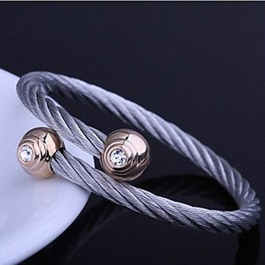Men's Fashion Personality Titanium Steel Set Diamond Opening Bracelets