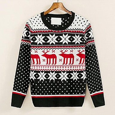 Men's New Crewneck Sweater Korean Cultivating Snow Deer Sweater