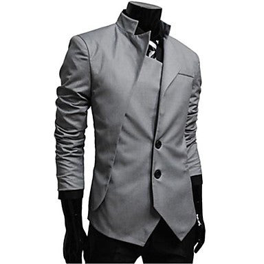 Men's Mock Neck Asymmetric Casual Coat