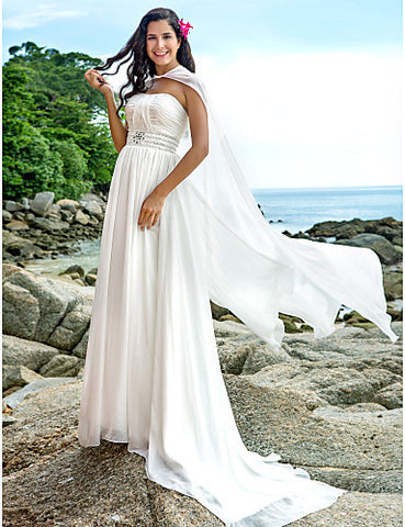 A-line Strapless Sweep/Brush Train Chiffon Wedding Dress With A Wrap