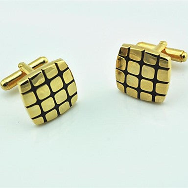 Fashion 1.7cm Men's Gold & Black Cufflink (Gold) (1 Pair)