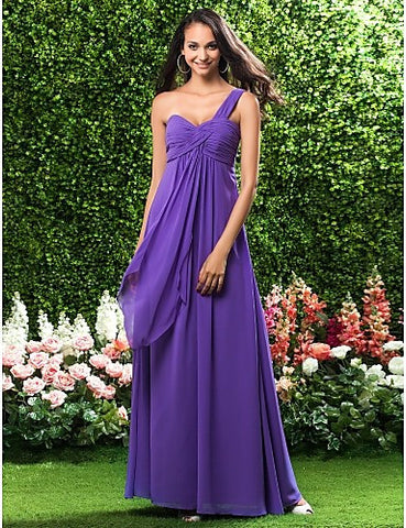Bridesmaid Dress Floor Length Chiffon Sheath Column One Shoulder Empire Dress