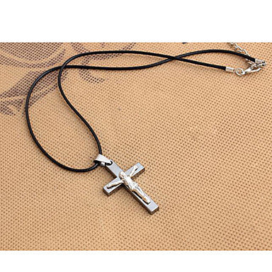 Fashion Crucifix And Jesus Black Leather Pendant Necklace (1 Pc)