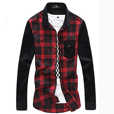 Men's Casual SplicingMen's Long Sleeve Shirt