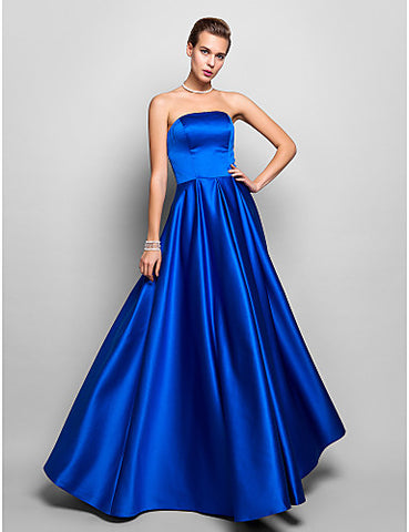A-line Strapless Floor-length Satin Evening/Prom Dress