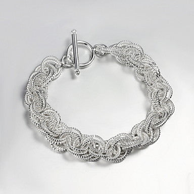 Fashion Hook-ups 21cm Men's Silver Silver Plated Chain & Link Bracelet(1 Pc)
