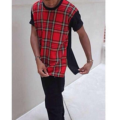 Men's Tartan T-shirts Red and Black Fashion Cotton Street Wear