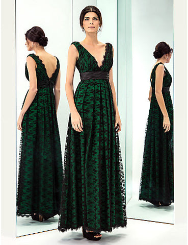 A-line V-neck Floor-length Taffeta And Lace Evening Dress