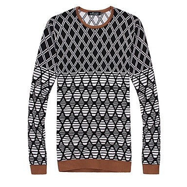 Men's Fashion Diamond Pattern Design Leisure Crewneck Sweater