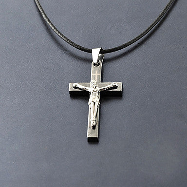 Fashion (Cross Pendant) Black Leather Pendant Necklace(Assorted Color) (1 Pc)