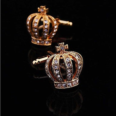 Gold Crown Crystal Silver Mens Wedding Party gift shirt cufflinks cuff links