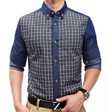 Men's Stand Collar Check Long Sleeve Shirt 1313