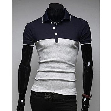 Men's Long Sleeve Fashion Casual Polo T-Shirt E