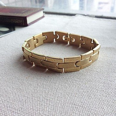 BRA0020 - Fashion 21 CM Men's Gold Titanium Steel Bracelet