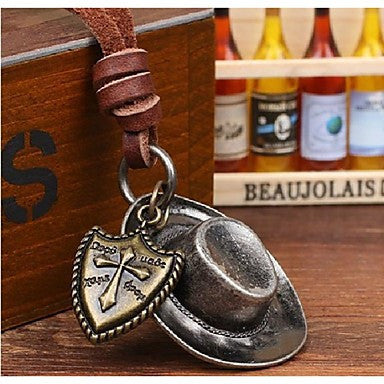 Fashion Retro European West Hat Brown Leather Alloy Pendant Necklace(1 Pc)