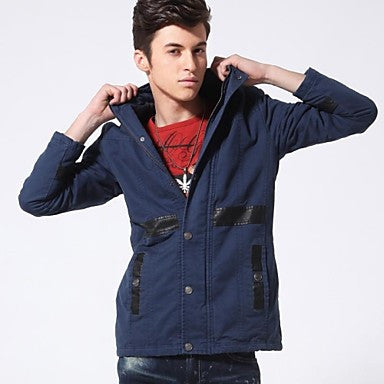 Men's Fashion Slim Washed out in the Long Section of Male Padded Jacket