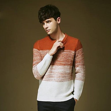 Men's Round Collar Contrast Color Basic Long Sleeve Sweater Shirt
