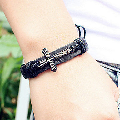 Fashion Cross 21cm Men's Black Alloy Leather Bracelet(1 Pc)