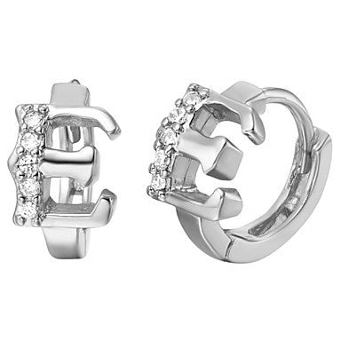 "Gifr for Boyfriend High Quality Silver Plated Letter ""E"" Men's Stud Earrings(1 pr)"