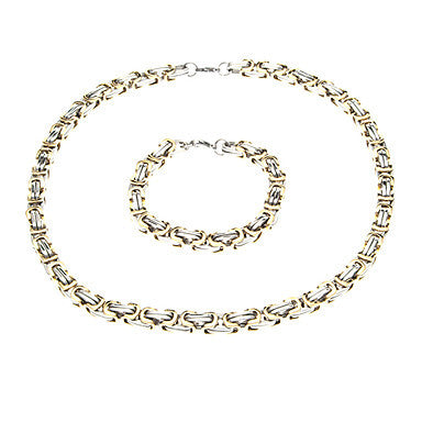 European Golden Joint Silver Titanium Steel Chain Necklace (1 Pc)