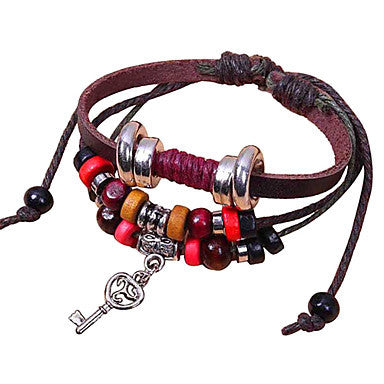 Vintage Beads And Key 21cm Unisex Brown Alloy Couple Leather Bracelet(1 Pc)