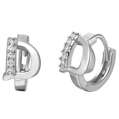 "Gifr for Boyfriend High Quality Silver Plated Letter ""D"" Men's Stud Earrings(1 pr)"