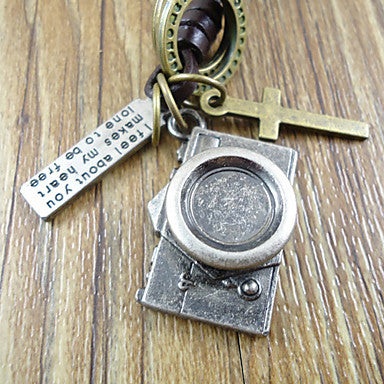 European (Camera Pendant) Brown Leather Vintage Necklace(Silver) (1 Pc)