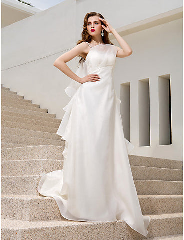 A-line Princess Spaghetti Straps Floor-length Organza Wedding Dress (871019)