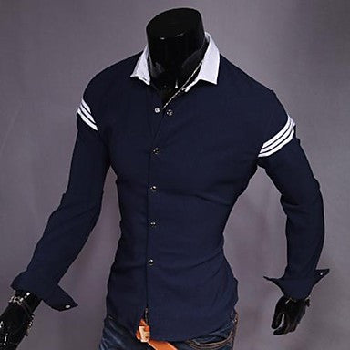 Men's Point Collar Long Sleeve Contrast Color Stretch Shirts