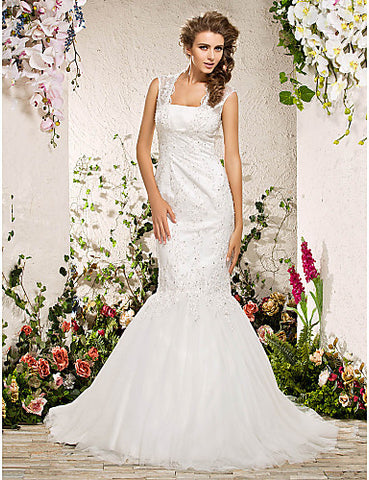 Fit and Flare Square Court Train Organza Lace Wedding Dress